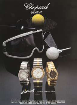 Ad poster for launch of the St. Moritz watch collection featuring 3 versions of watch and sporting equipement
