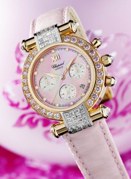 Close up view of the Imperiale watch on a pink backround