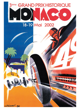 poster of Grand Prix de Monaco Historique 2002 when Chopard became the official sponsor