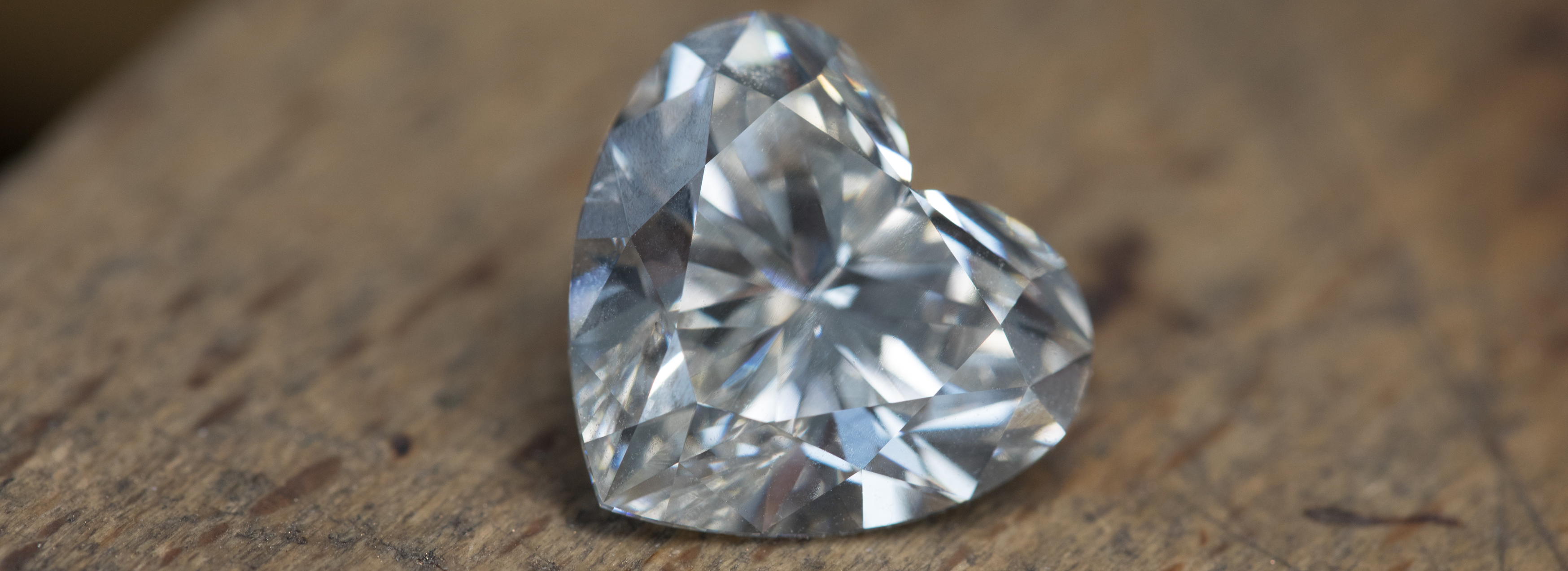 Close-up view of Heart shaped un-set diamond