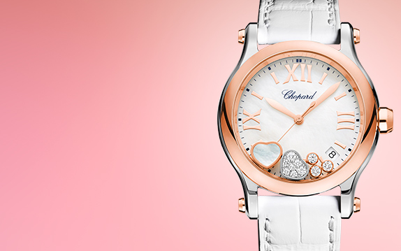 A magnificent watch for her, with floating diamonds and a nacre strap.