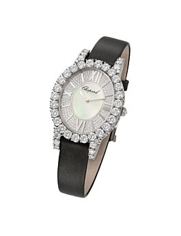 18k white gold watch with diamond-set dial and diamond-studded bezel on soft satin strap