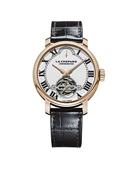 front of 18k rose gold watch with open case back and grand-feu enamel dial on brown leather strap