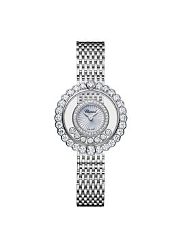 18k white gold watch with mother-of-pearl dial and diamond-set circles surrounding the moving diamonds