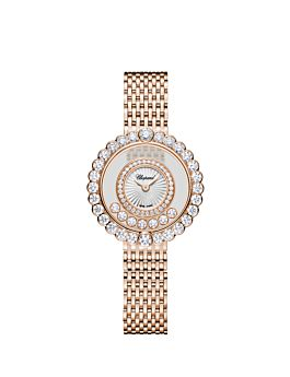 front of 18k rose gold watch with diamond-set circles surrounding the moving diamonds