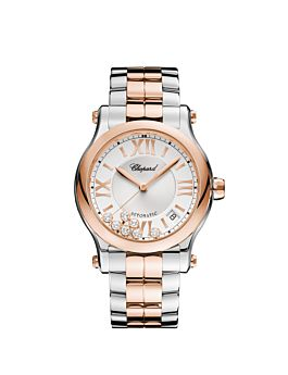 watch with rose gold and stainless steel body silver toned dial .