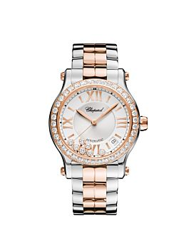 watch with rose gold and stainless steel body with a diamond-set bezel.