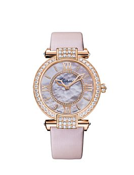 rose gold watch with a diamond-set case and rose mother-of-pearl dial.