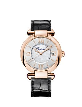 rose gold watch with silver dial and black leather strap.