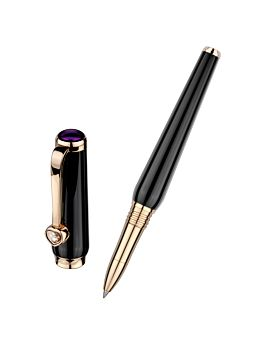 Roller ball pen in refined black resin with rose-gold-plated trim with separate cap on the left.