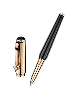 rollerball  pen with black resin body and rose gold cap and trim with separate cap on the left.