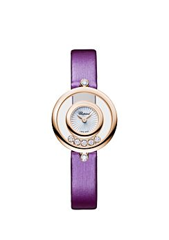 18k rose gold watch with mother-of-pearl dial and moving diamonds on leather strap