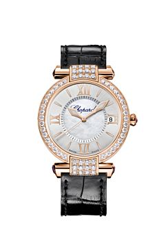 rose gold watch with mother-of-pearl on the silver-toned dial and the diamond bezel