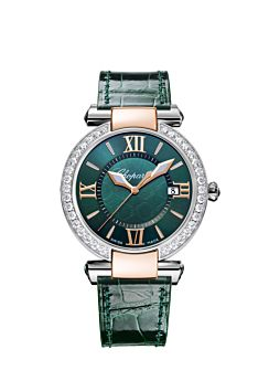watch with rose gold and stainless steel body,  rich green dial and leather strap