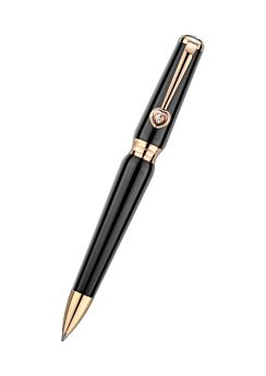 ballpoint pen in refined black resin with rose-gold-plated trim