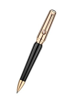 Ballpoint pen in refined black resin with rose-gold-plated trim and head.