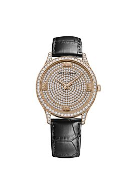 front of 18k rose gold watch with diamond-set dial and bezel on black leather strap