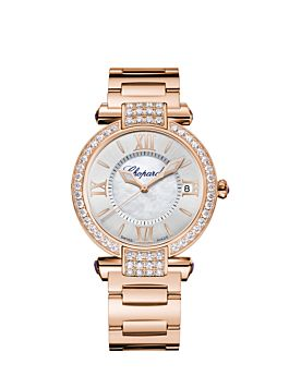 front of 18k rose gold IMPERIALE watch with mother-of-pearl on silver-toned dial and diamond bezel with amethysts on the lugs and crown