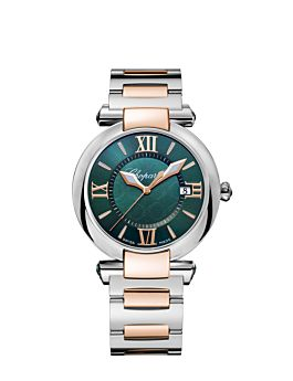 watch with rose-gold and stainless steel case  and rich green dial