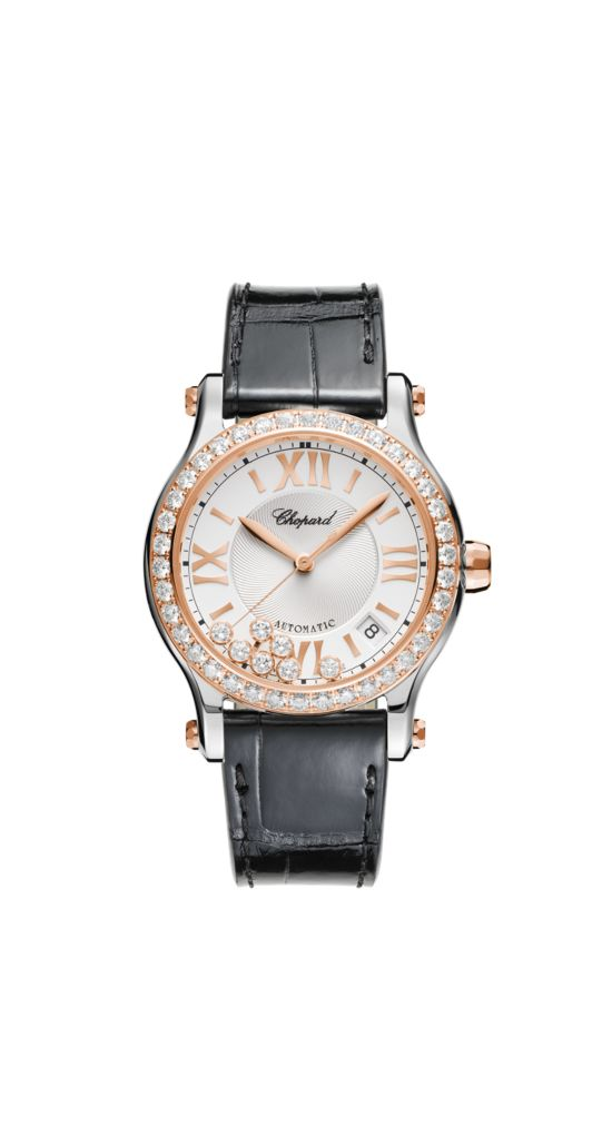 watch with rose gold and stainless steel body and black leather strap.