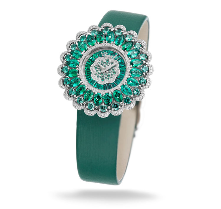 Image of Watch with Diamonds and emeralds on a green satin strap