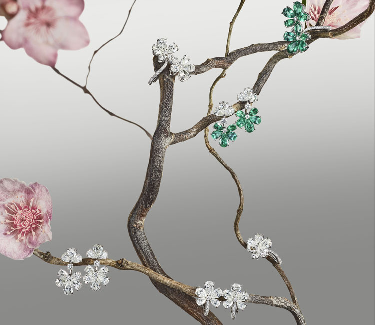 image of earrings and rings hung on flowering plant from the For you Chopard collection