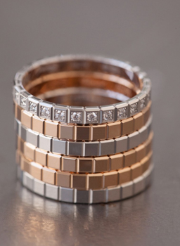 Image of Stacked Ice cube collection rings now in Fair mined gold
