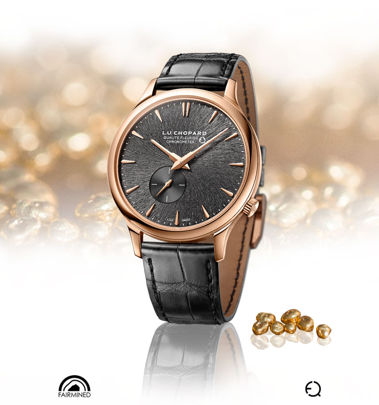 Image of LUC XPS watch with the Fair mined gold logo surrounded by gold nuggets