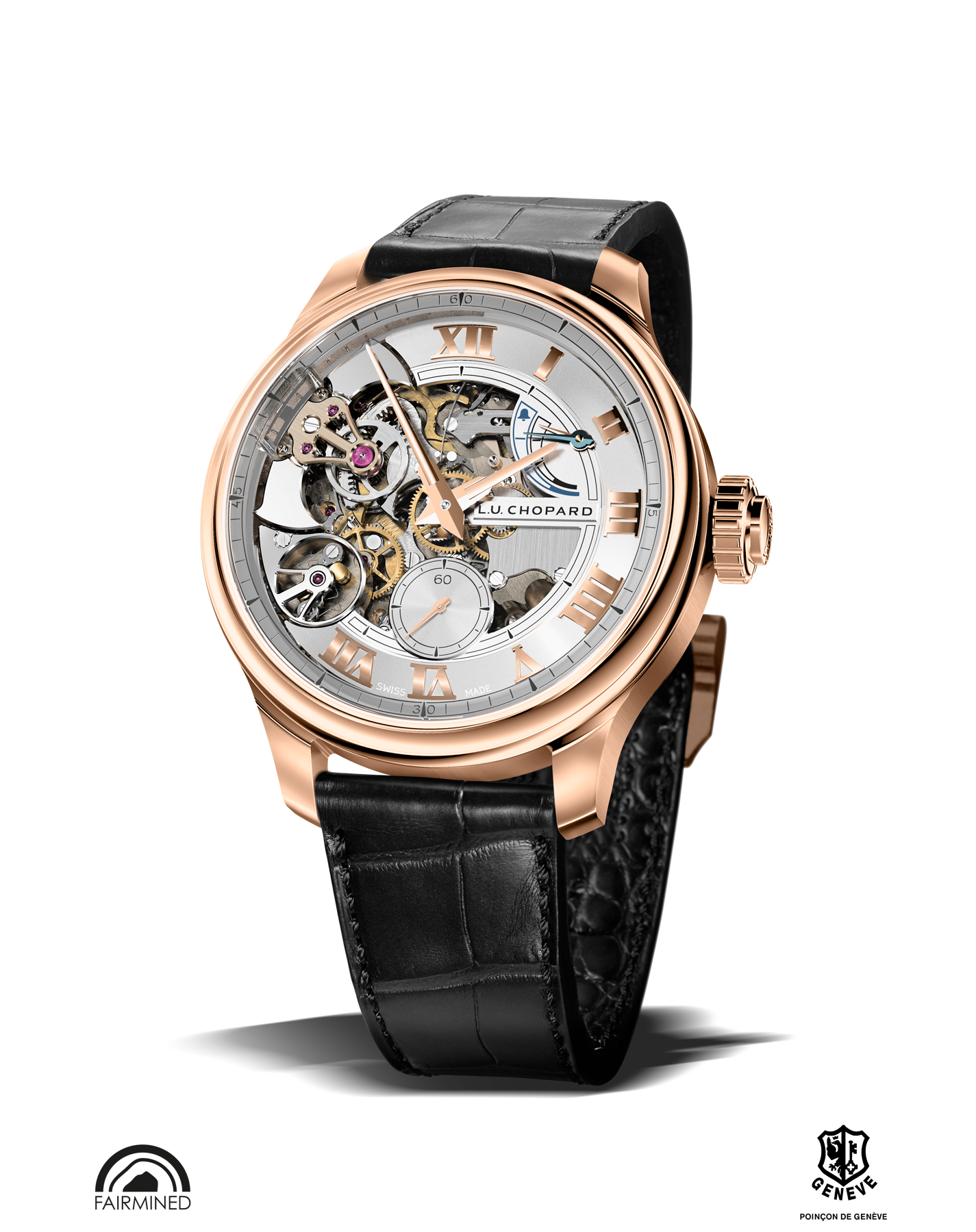 image of LUC full strike watch with poison de Geneve hallmark and Fairmined logo