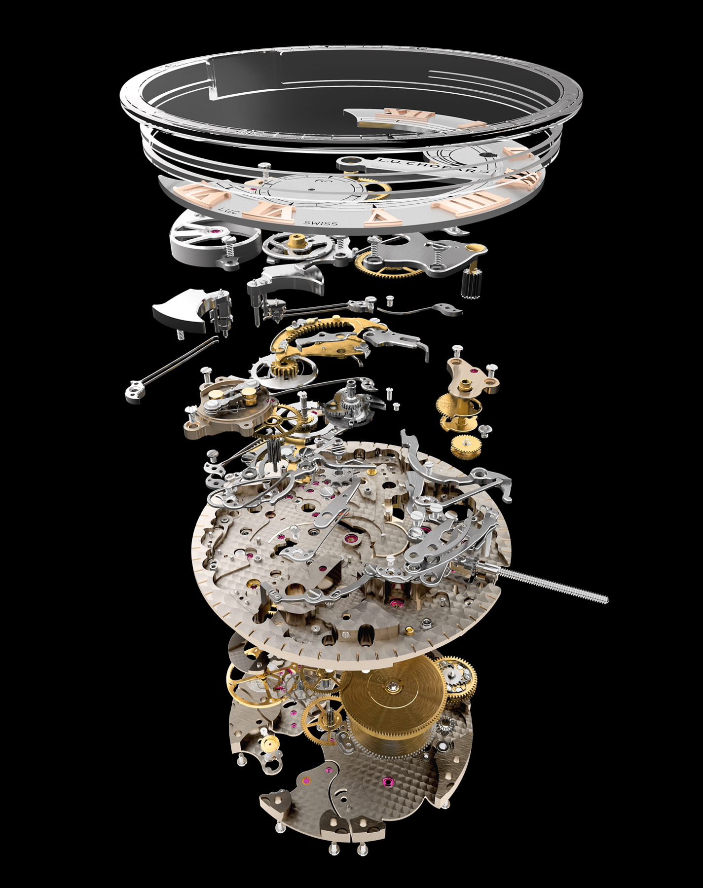 Exploded view of the mechanical movement of the LUC Full strike watch