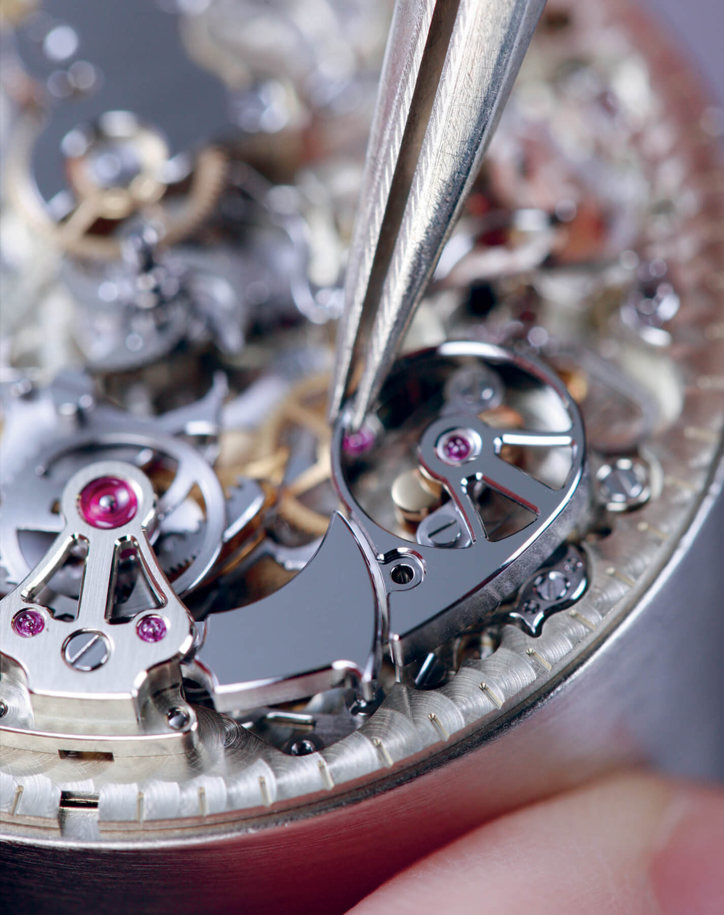 close-up view of LUC full strike minute repeater mechanics
