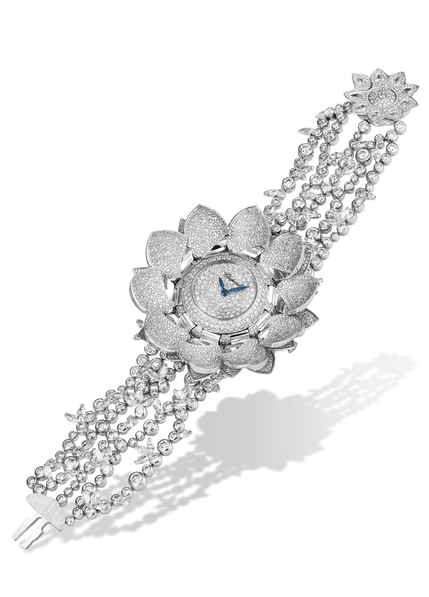 Full view of angled Diamond paved Lotus blanc watch with exposed dial and diamond bracelet