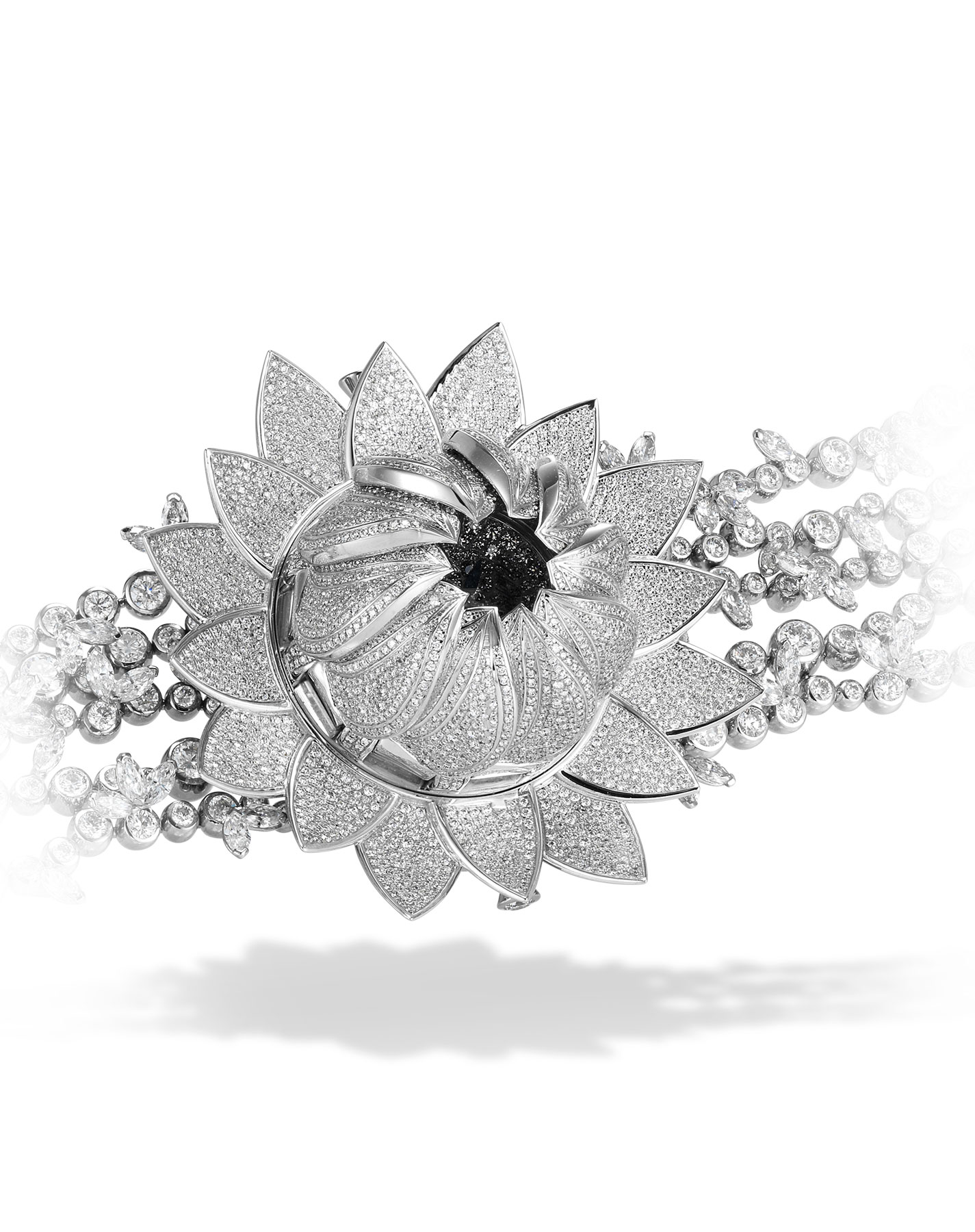 Close-up view of the Diamond paved lotus blanc watch and bracelet, dial is hidden by the closed petals