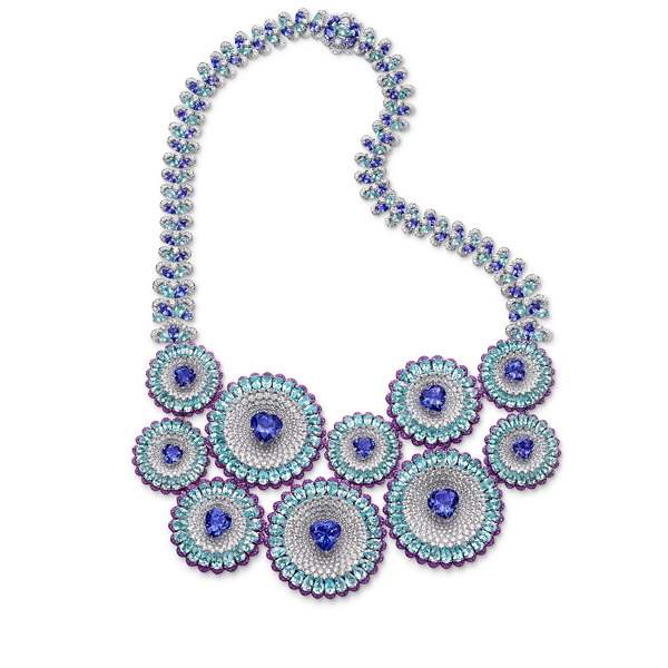 necklace set with tanzanites, Paraiba tourmalines, amethysts and diamonds