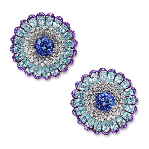 earrings set with tanzanites, Paraiba tourmalines, amethysts and diamonds
