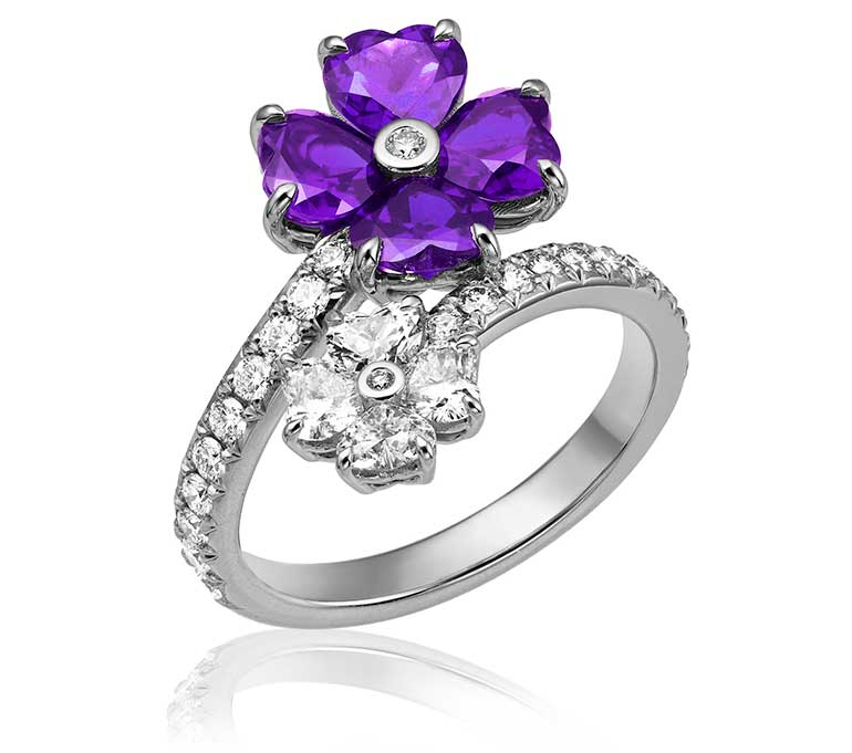 Close-up image and Diamond and heart shaped amethyst ring
