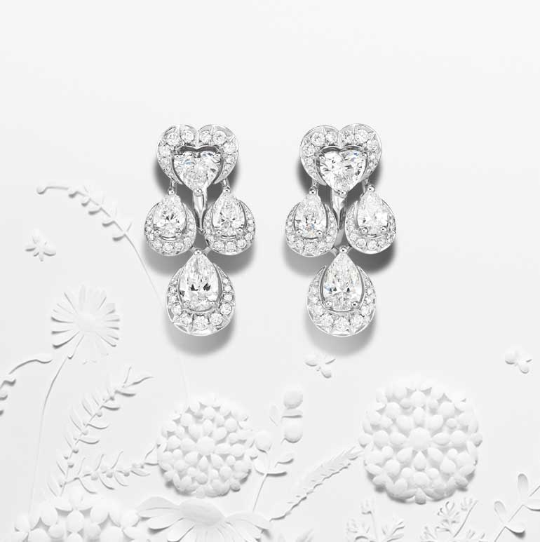 Close-up view of Diamond green carpet collection earrings