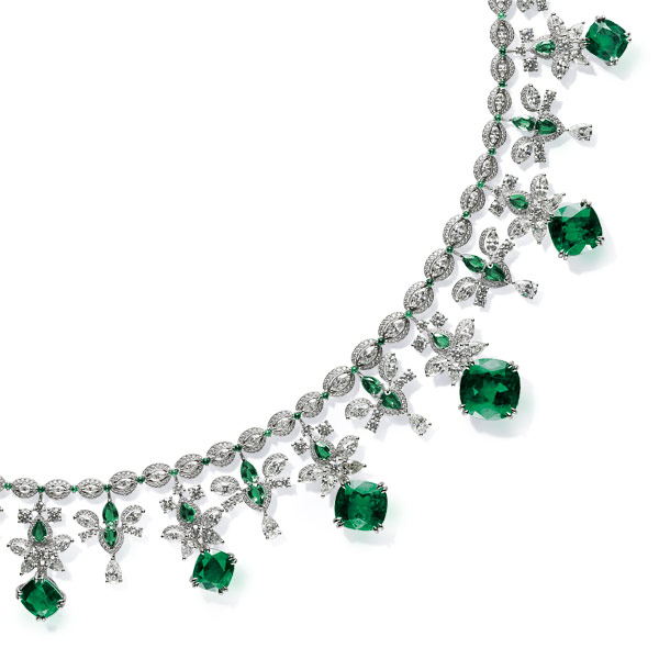 A magnificent emerald and diamond necklace