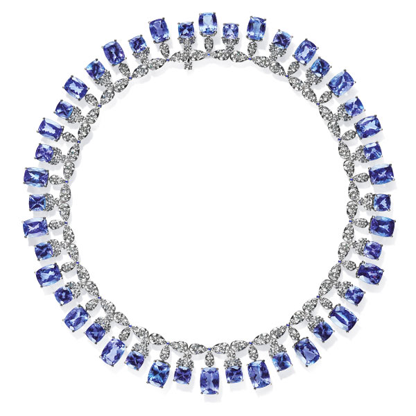 An alluring tanzanite and diamond set necklace