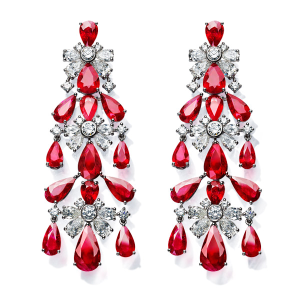 A charming pair of ruby and diamond chandelier earrings