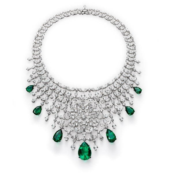 Picture of a glittering emerald and diamond necklace.