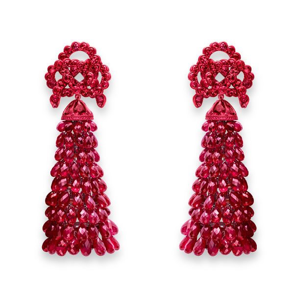 Picture of Chinese knot earrings set with ruby beads.