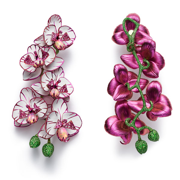 First picture of divine pairs of gem-set orchid earrings.