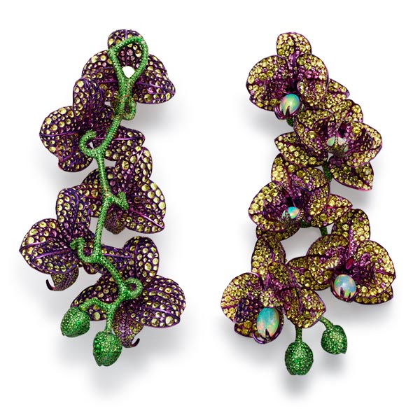Second picture of divine pairs of gem-set orchid earrings.