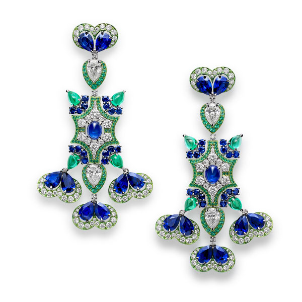 Picture of earrings with emeralds, sapphires and diamonds.