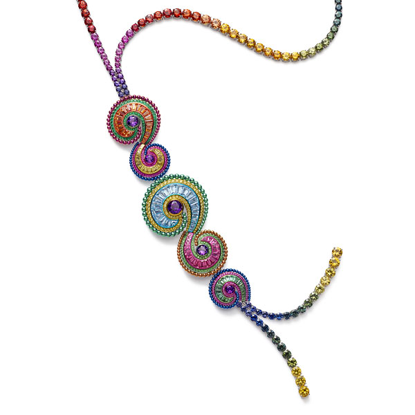 Close-up image of necklace set with amethysts, emeralds, topaz, tsavorites, colored sapphires and tourmalines