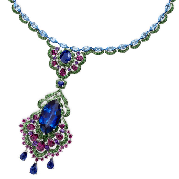 Close-up image of necklace with sapphires, amethysts, garnets, topaz and tsavorites