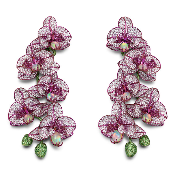 Close-up image of orchid earrings set with opals, pink sapphires, tsavorites and diamonds