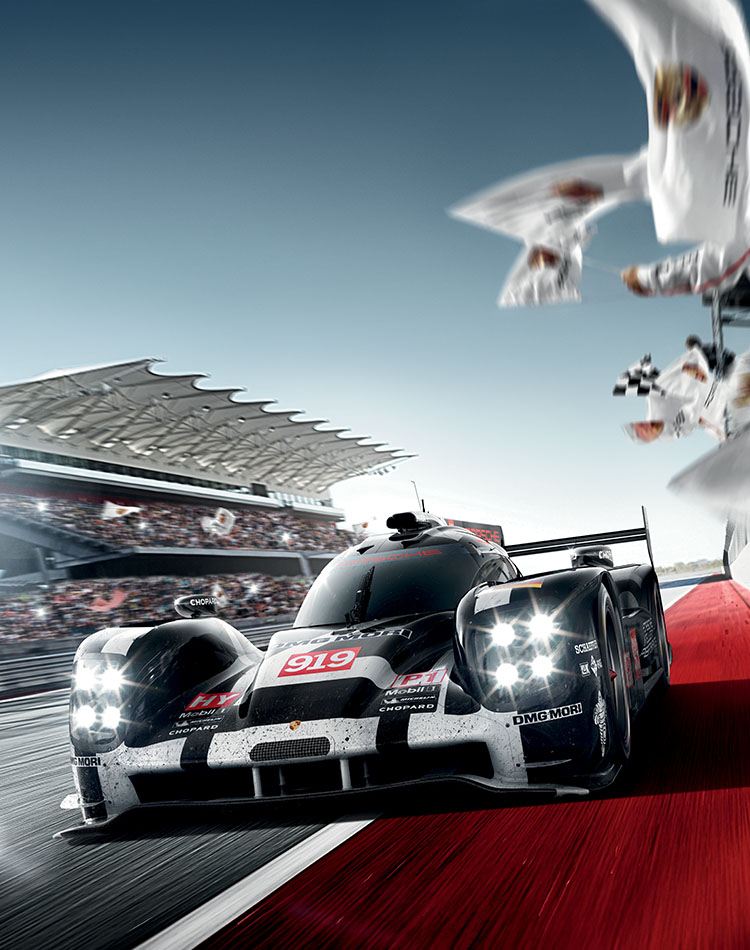 Image of the Chopard sponsored Porsche 919 on the track