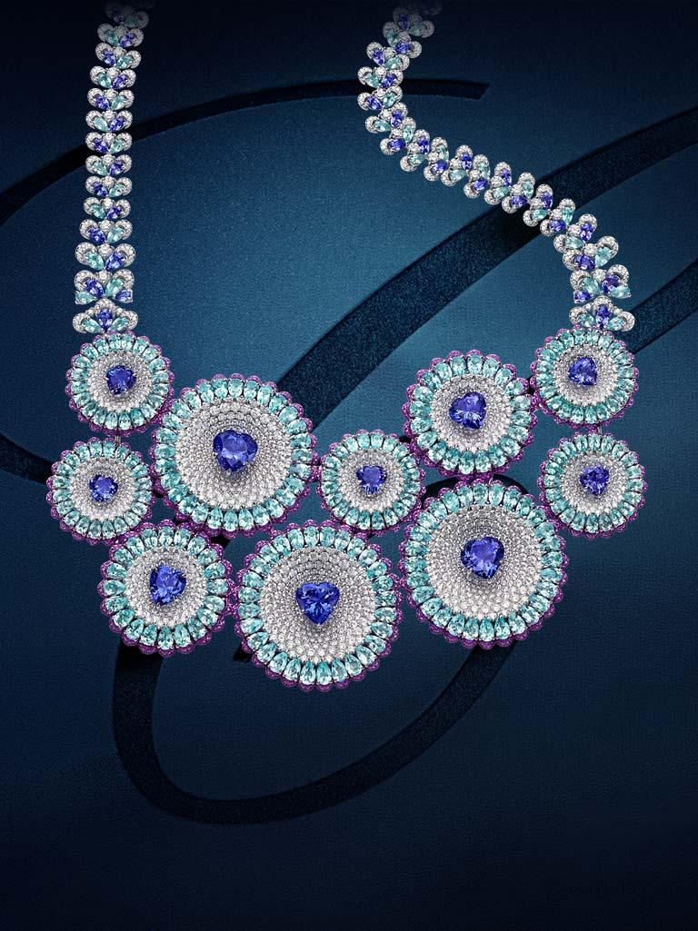 One of Chopard's Red Carpet Collection 2019 necklaces, made out of tanzanites, Paraiba tourmalines, amethysts and diamonds.